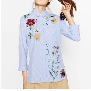 Zara embroidered shirt